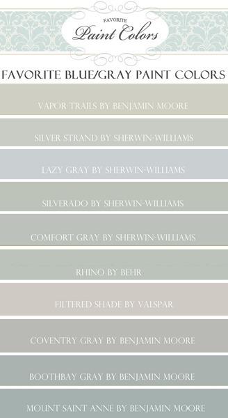 Favorite Blue Gray Paint Colors
