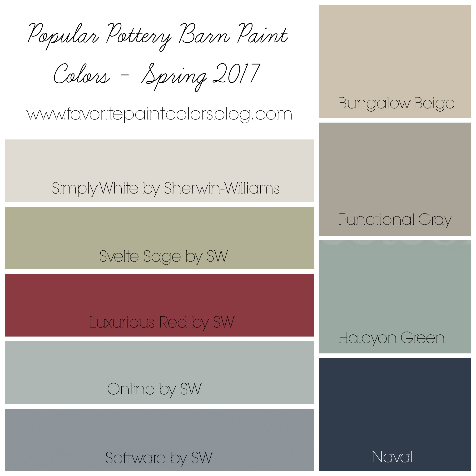 Popular Pottery Barn Paint Colors
