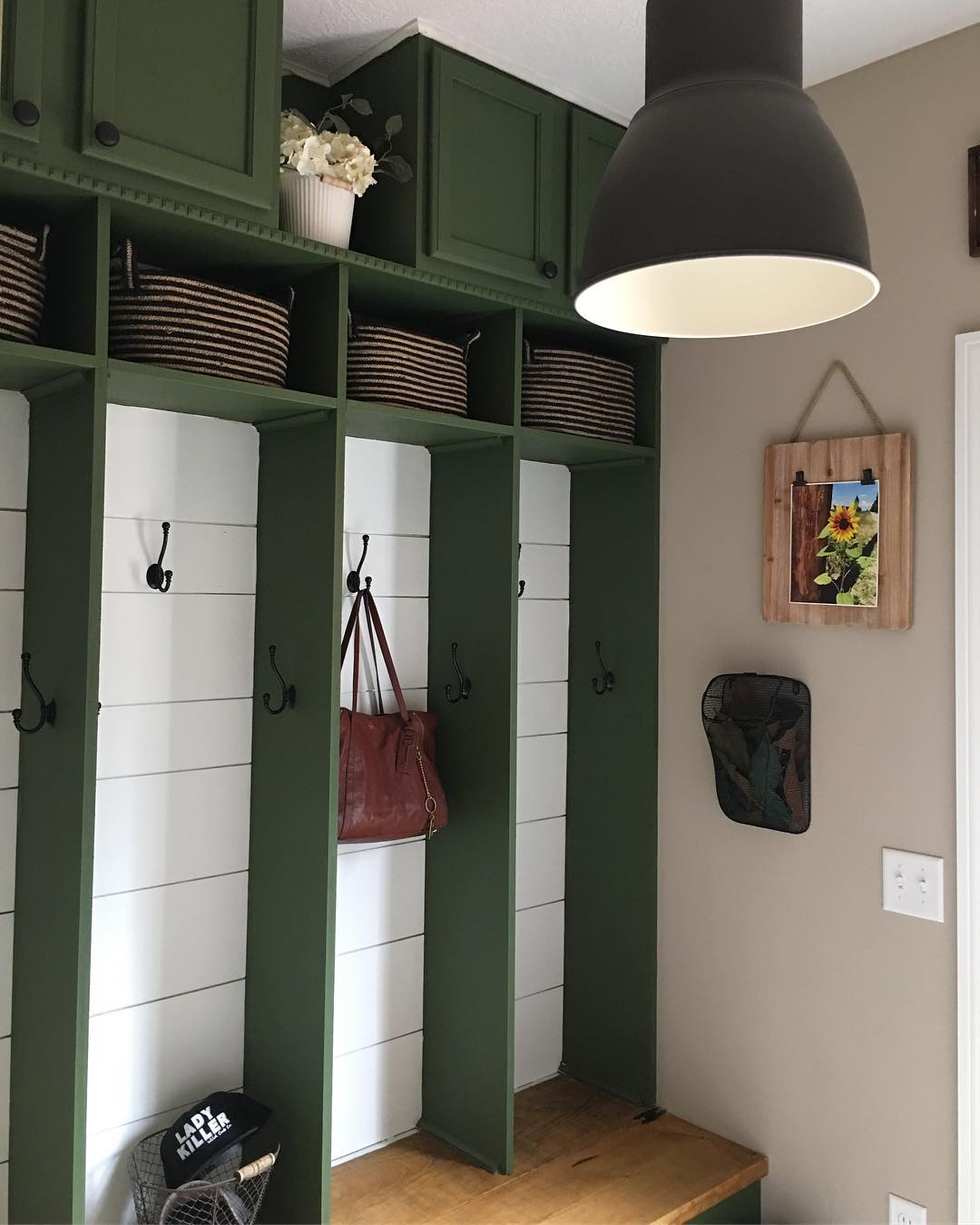 green paint color for entryway lockers